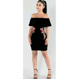Fashion Nova black velvet rose dress